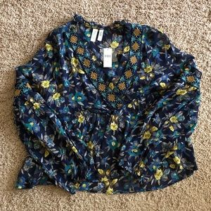 Anthropologie - Colorful blouse with beaded detail